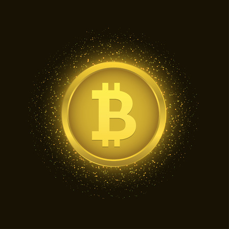 Bitcoin coin over golden explosion background with glitters stars and sparkles