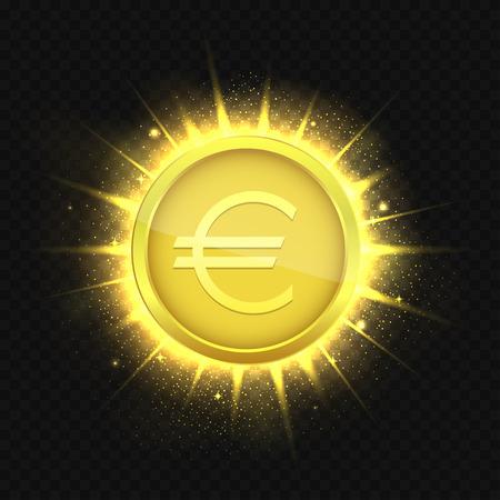 Golden euro coin Illustration