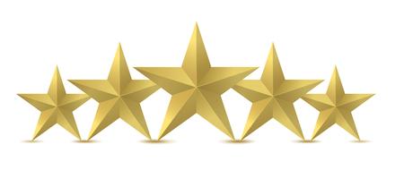 Illustration vectorielle de cinq étoiles dorées. Banque d'images - 92496829