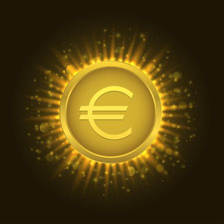 Golden euro coin Vector illustration. Illustration