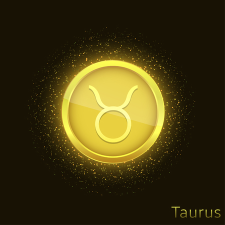 Golden Taurus sign Illustration