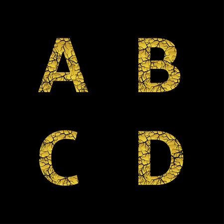 Golden broken A B C D letters, Luxury cracked letters. Vector illustration