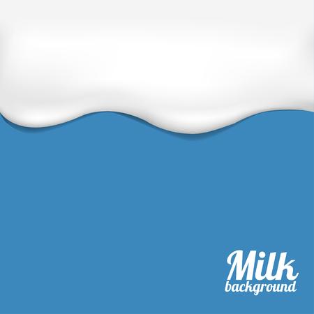 Illustrazione della priorità bassa del latte. Onda di latte bianco su sfondo blu Vettoriali