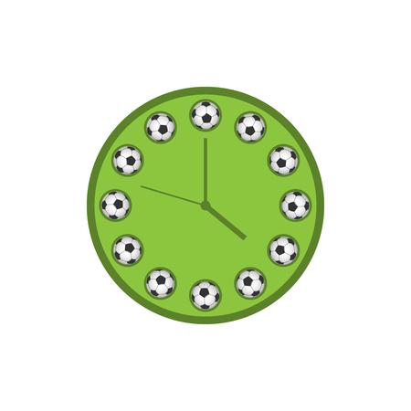 Football time. Green soccer clock, Vector illustration Stock Illustratie