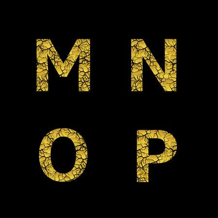 Golden broken M N O P letters, Luxury cracked letters. Vector illustration Banco de Imagens