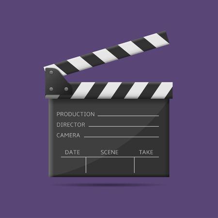 Movie production clapper board. Film industry, Vector illustration