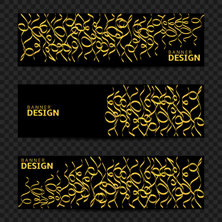 Golden confetti ribbons banner set. Victory flyers, first place Illustration