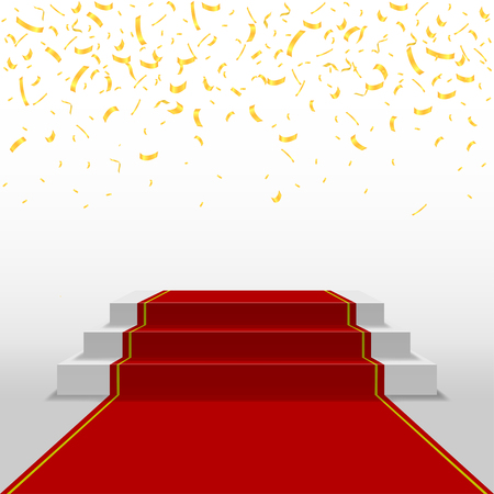Golden confetti background, Award ceremony pedestal with red carpet. Festive holiday background