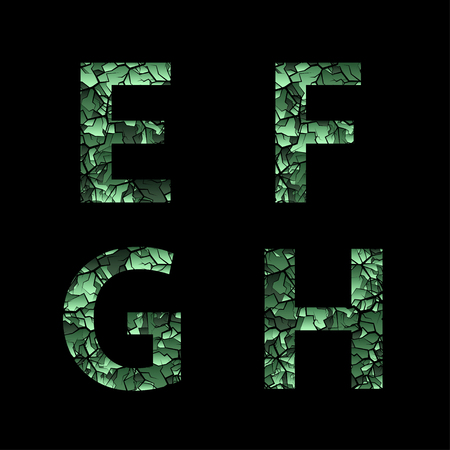 E F G H green camouflage letters. Army font, military alphabet