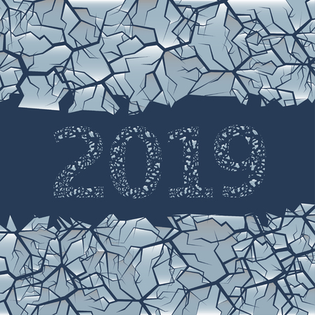 Gebarsten ijs achtergrond. Winter bevroren achtergrond met gat voor eenvoudige tekst, 2019 Happy New Year en Merry Christmas