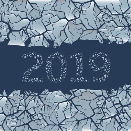 Gebarsten ijs achtergrond. Winter bevroren achtergrond met gat voor eenvoudige tekst, 2019 Happy New Year en Merry Christmas Vector Illustratie