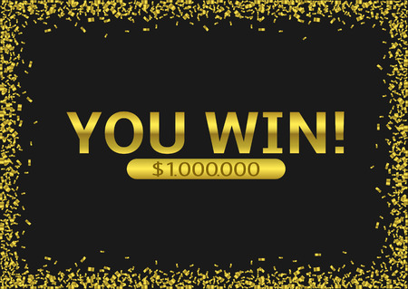 Big Win Jackpot. You Win text over golden confetti background, Vector illustration