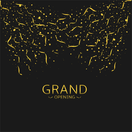 Grand opening. Golden confetti and ribbons, Vector illustration