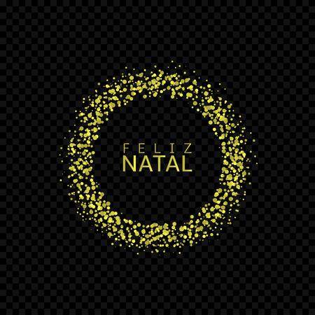 Portugese Christmas label. Feliz natal, golden confetti label