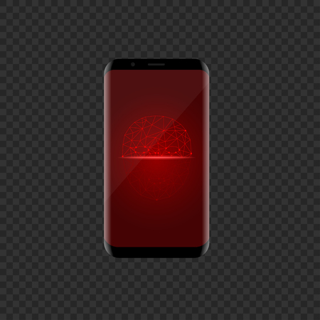 Smartphone with red face scan icon. Facial recognition system