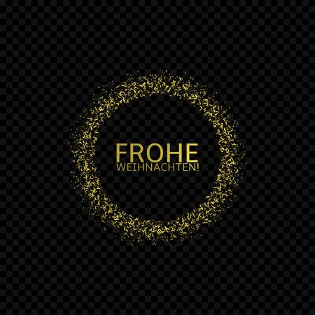 Frohe weihnachten label, German christmas. Golden confetti label