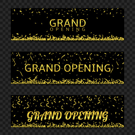 Grand opening. Black banners with golden confetti and ribbons, Vector illustration