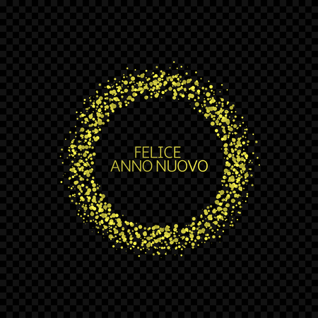 Portugese New Year label. Feliz ano novo, golden confetti label
