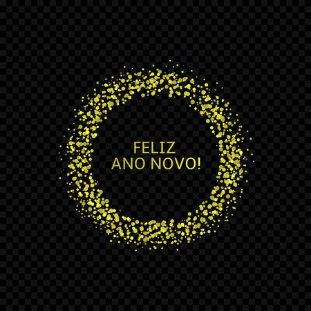 Portugese New Year label. Feliz ano novo, golden confetti label