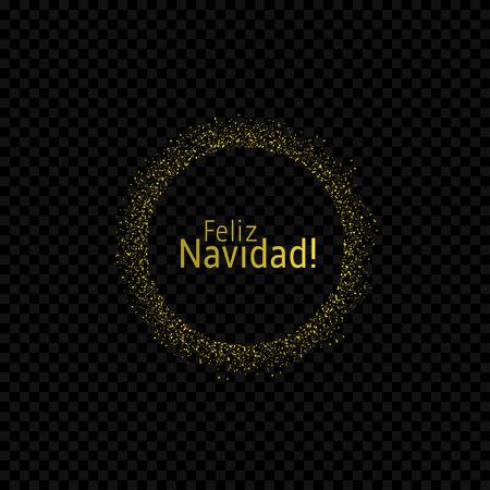 Spanish Christmas label. Feliz Navidad, Golden confetti label