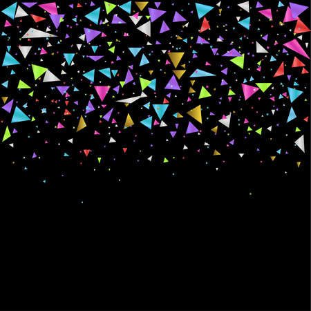 Colorful triangles confetti festive background. Vector illustration Иллюстрация