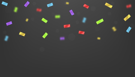 Magic Colorful festive ribbons over black background. Blurred defocused color confetti Vector illustration