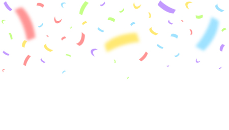 Colorful festive ribbons over white background. Blurred defocused color confetti Vector illustration  イラスト・ベクター素材