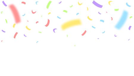 Colorful festive ribbons over white background. Blurred defocused color confetti Vector illustration Illustration