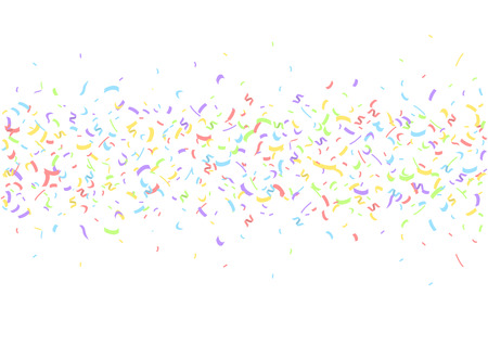 Colorful confetti pieces on white background. Holiday party decoration backdrop, Vector illustration