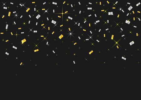 Vector realistic golden and silver confetti ribbons on the black background. Concept of happy birthday, party and holidays