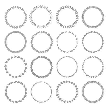 Conjunto de insignia de etiqueta de corona de laurel aislado, ilustración vectorial