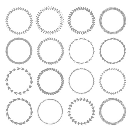 Laurel wreath label badge set isolated, Vector illustration