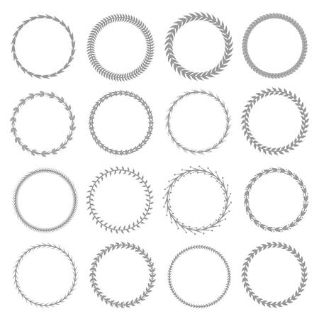 Laurel wreath label badge set isolated, Vector illustration Vectores