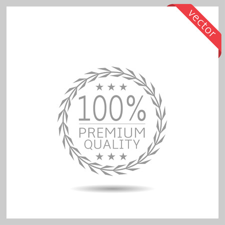 Premium quality icon. Laurel wreath label badge isolated, Vector illustration Vettoriali