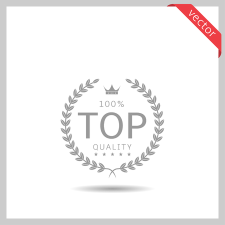 Top quality icon. Laurel wreath label badge isolated, Vector illustration