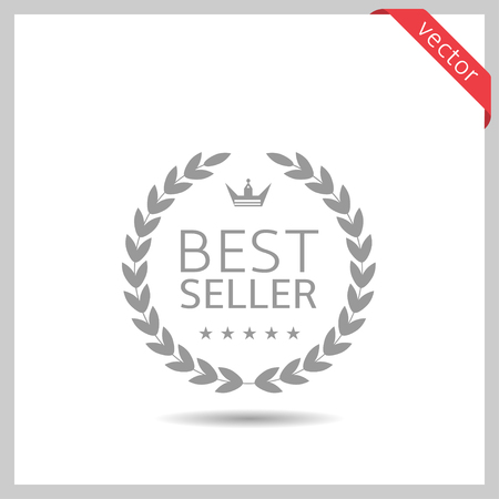 Best seller icon. Laurel wreath label badge isolated, Vector illustration