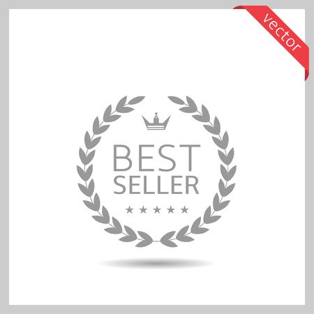 Icono de mejor vendedor. Insignia de etiqueta de corona de laurel aislada, ilustración vectorial Ilustración de vector