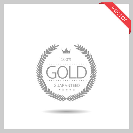 Gold icon. Laurel wreath label badge isolated, Vector illustration Vettoriali