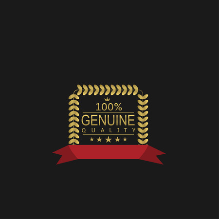 Genuine quality icon. Golden Laurel wreath label badge isolated, Vector illustration