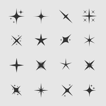 Stars and sparks. Magic star and sparks icon set, Vector illustration Illustration