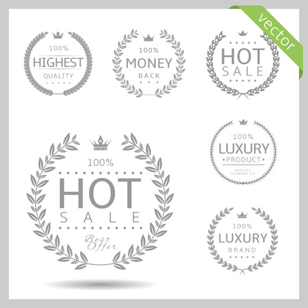 Laurel wreath label badge set isolated. Hot sale, highest quality, luxury, money back. Vector illustration 向量圖像