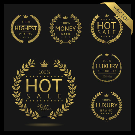 Golden Laurel wreath label badge set isolated. Hot sale, highest quality, luxury, money back. Vector illustration