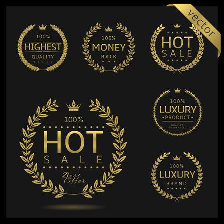 Goldener Lorbeerkranz-Label-Abzeichen-Set isoliert. Heißer Verkauf, höchste Qualität, Luxus, Geld zurück. Vektor-Illustration