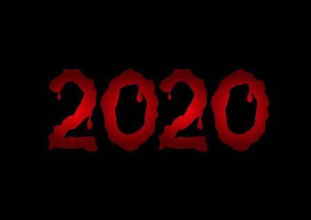 2020 red bloody text