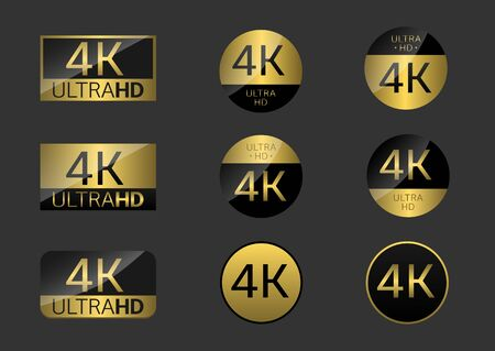 4K simple badges illustration 向量圖像