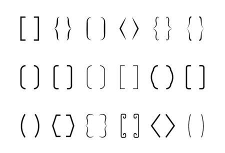 Text brackets. Text bracket symbol set, Vector illustration