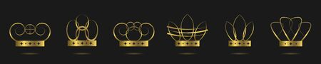 Golden crowns. Golden crown set, award insignia symbol
