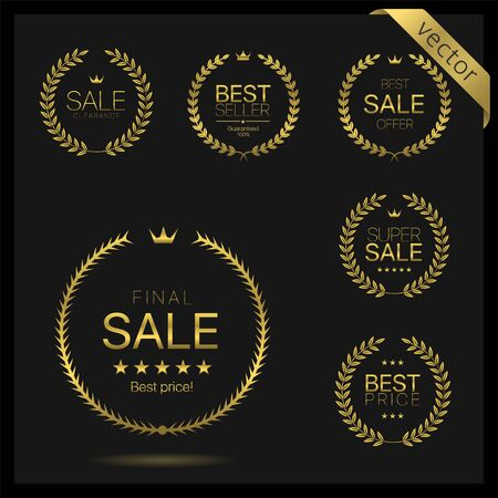 Golden Laurel wreath label badge set isolated. Final sale, super sale, clearance, best price golden labels. Vector illustration Vector Illustration