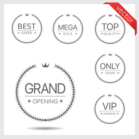 Grand opening, best offer, mega sale, top quality, only today, VIP members labels. Laurel wreath label badge set isolated. Promo and advertising concept signs 向量圖像