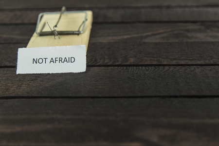 blured wooden mouse trap with the word: Not afraid